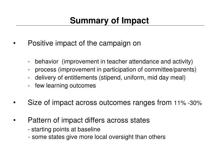 Summary of Impact