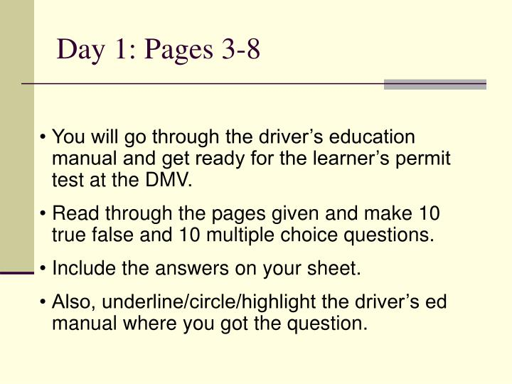 Day 1: Pages 3-8