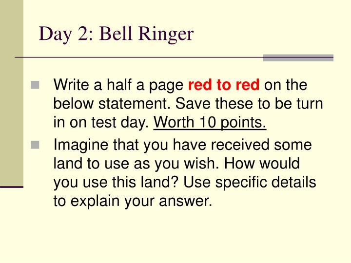 Day 2: Bell Ringer