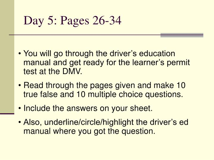 Day 5: Pages 26-34