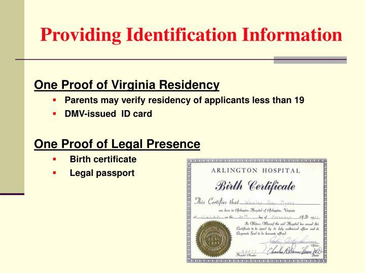 Providing Identification Information