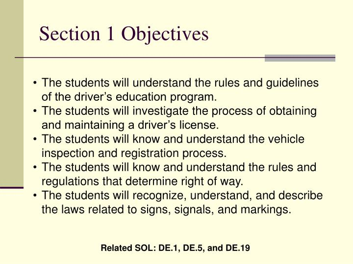 Section 1 Objectives