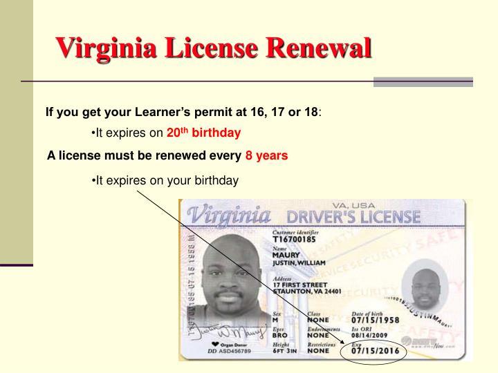 Virginia License Renewal