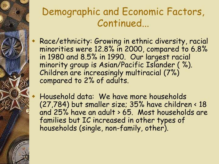 Demographic and Economic Factors, Continued...