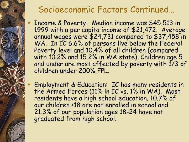 Socioeconomic Factors Continued…