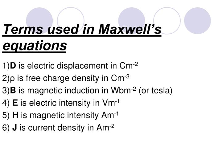 Terms used in Maxwell's equations