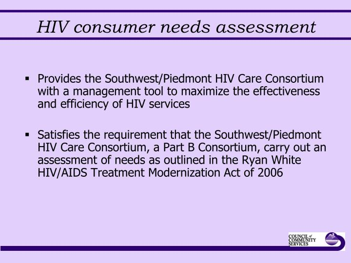 HIV consumer needs assessment