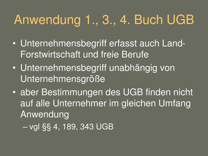 Anwendung 1., 3., 4. Buch UGB
