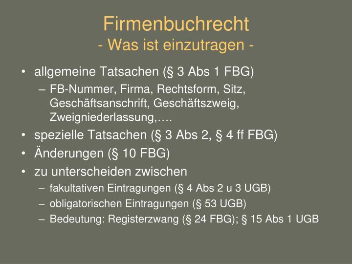 Firmenbuchrecht