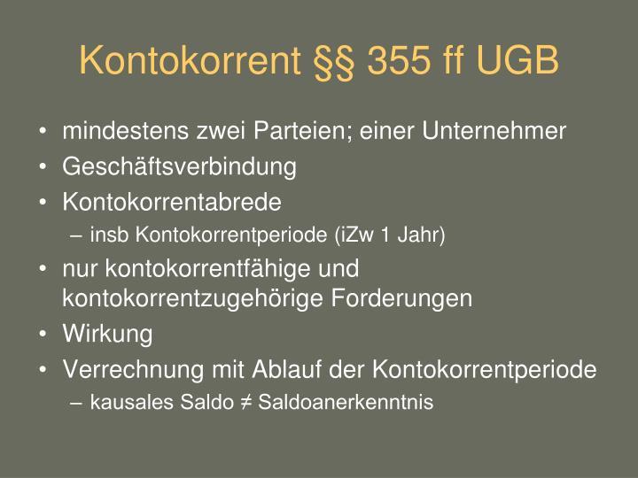 Kontokorrent §§ 355 ff UGB