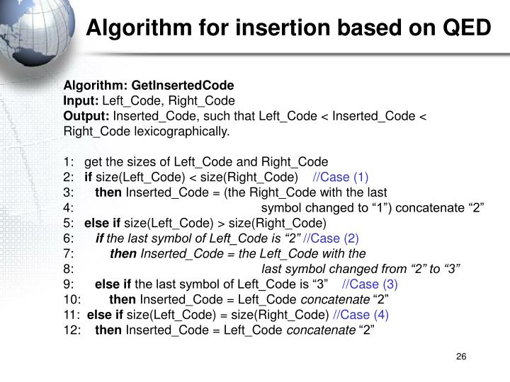 Algorithm for insertion based on QED