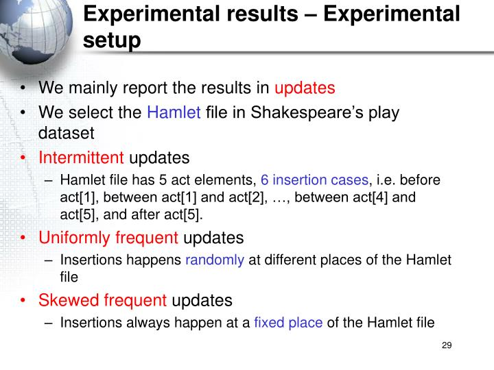 Experimental results – Experimental setup