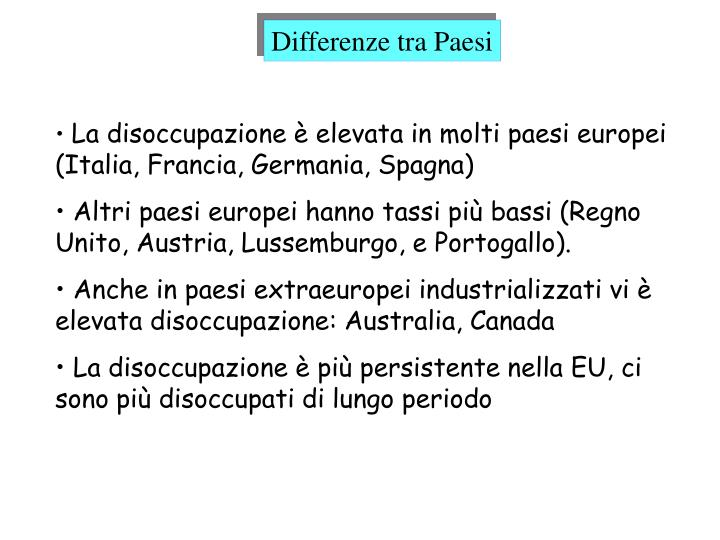 Differenze tra Paesi