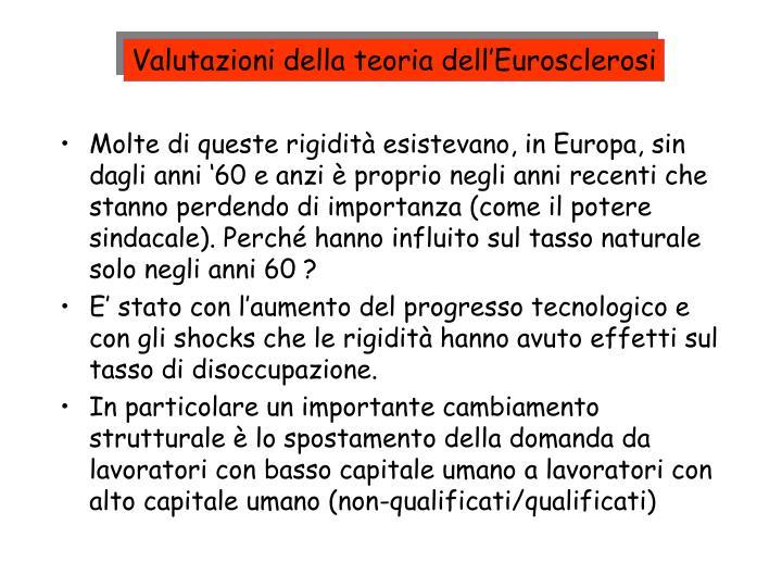 Valutazioni della teoria dell'Eurosclerosi