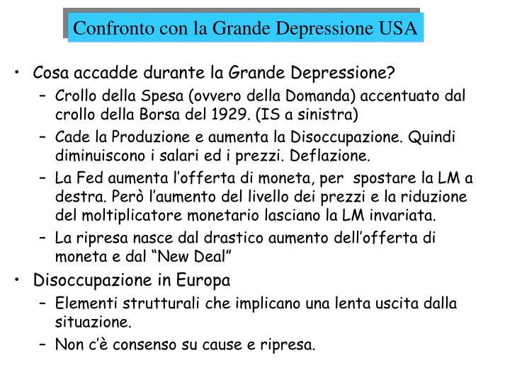 Confronto con la Grande Depressione USA