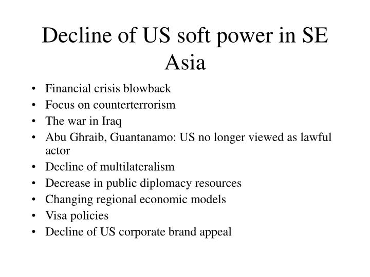 Decline of US soft power in SE Asia