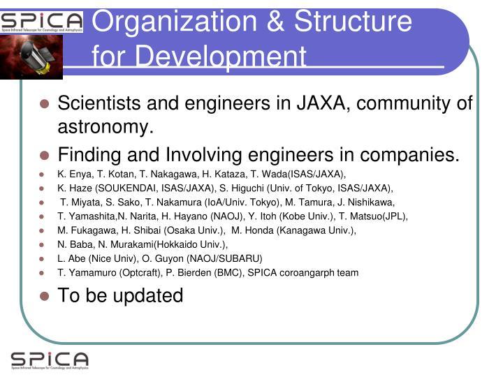 Organization & Structure for Development