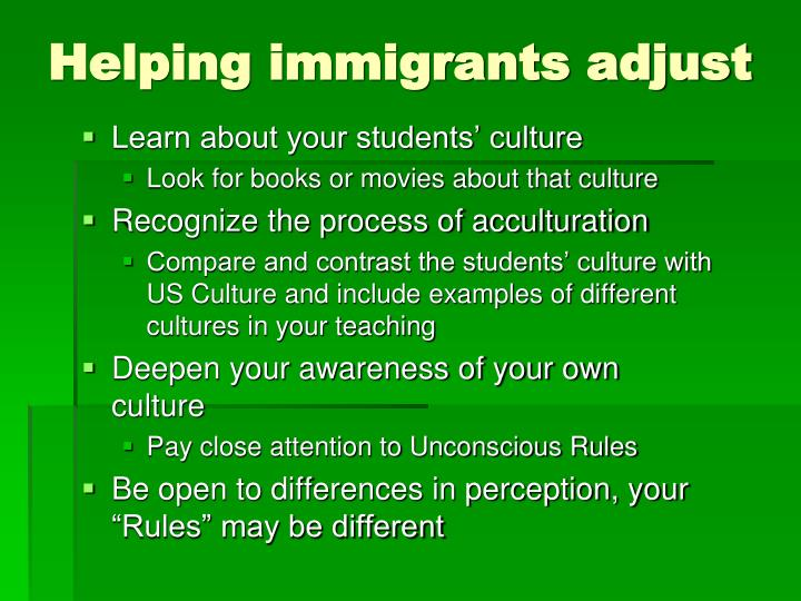 Helping immigrants adjust