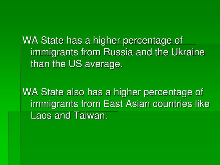 WA State has a higher percentage of immigrants from Russia and the Ukraine than the US average.