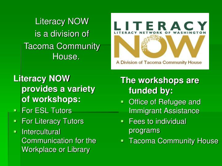 The workshops are funded by: