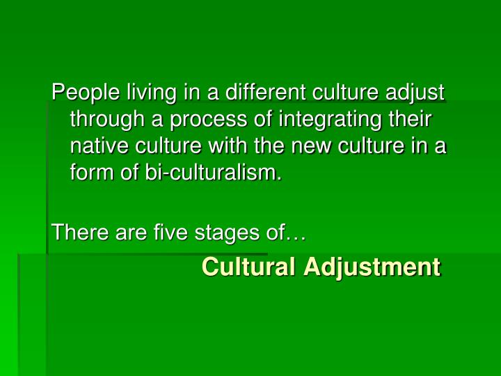 People living in a different culture adjust through a process of integrating their native culture with the new culture in a form of bi-
