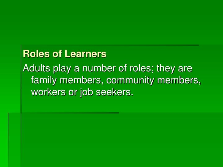 Roles of Learners