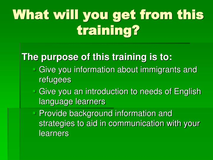 What will you get from this training?