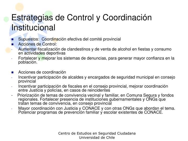 Estrategias de Control y Coordinación Institucional