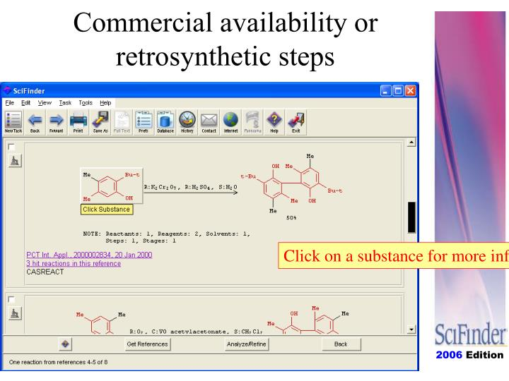 Commercial availability or retrosynthetic steps