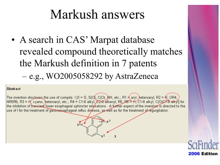 Markush answers