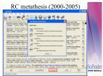 rc metathesis 2000 2005