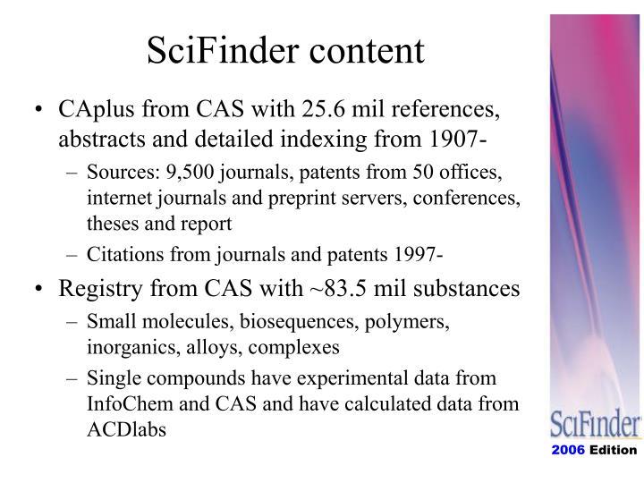 SciFinder content