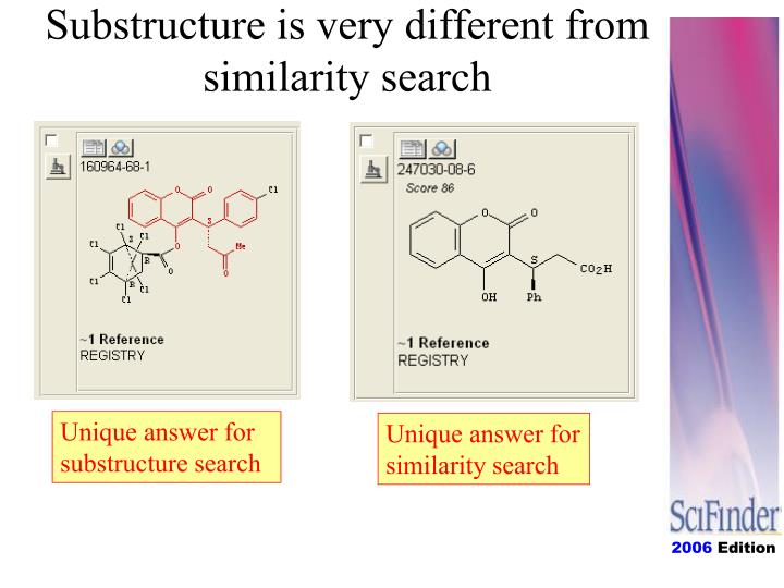 Substructure is very different from similarity search