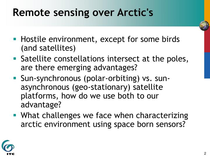 Remote sensing over Arctic's