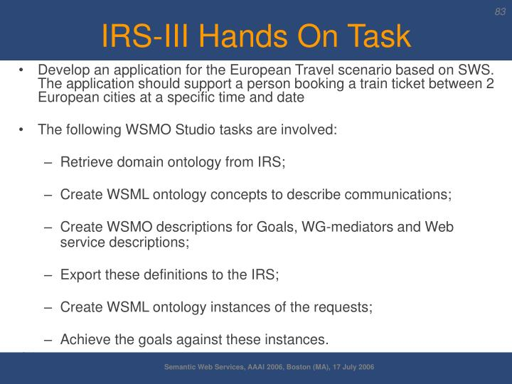 IRS-III Hands On Task
