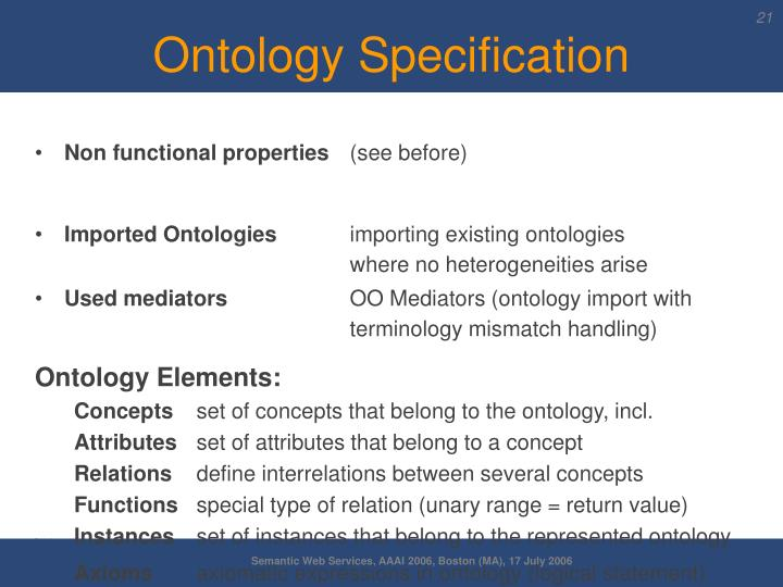 Ontology Specification