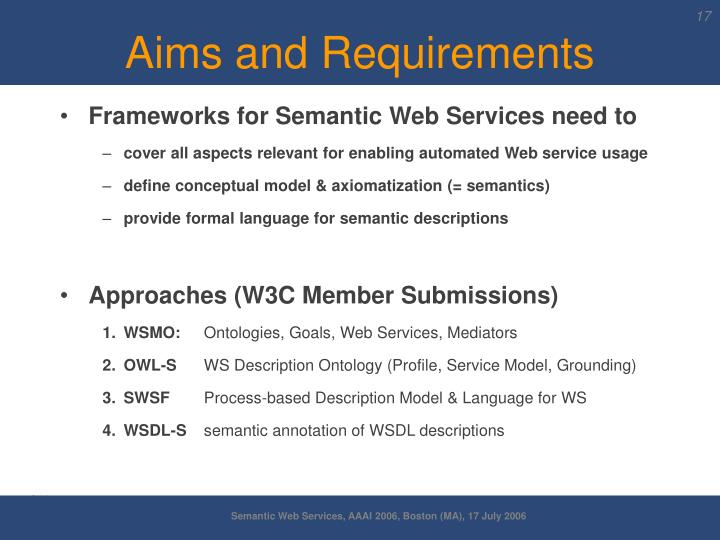 Aims and Requirements