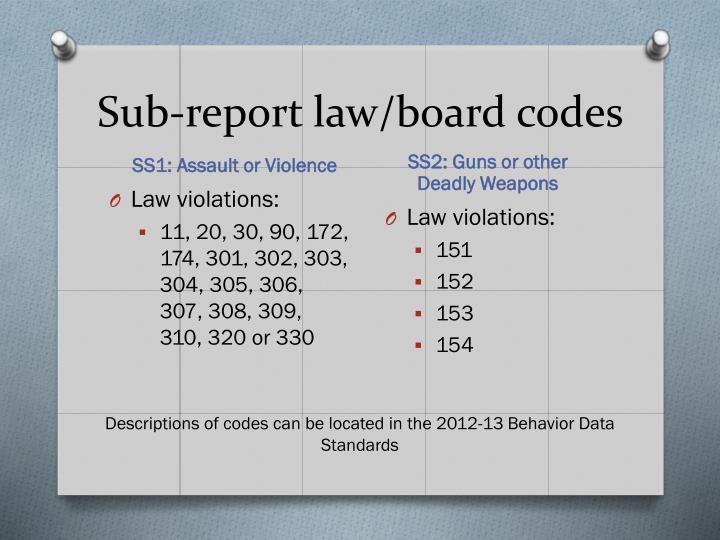 Sub-report law/board codes