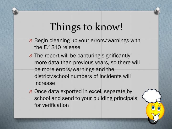 Things to know!