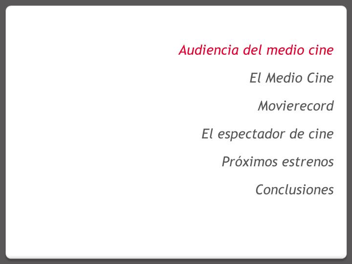 Audiencia del medio cine