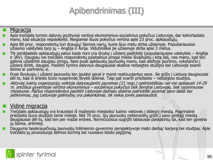 Apibendrinimas (III)