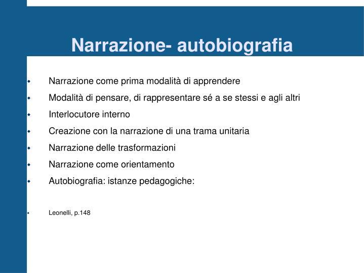 Narrazione- autobiografia