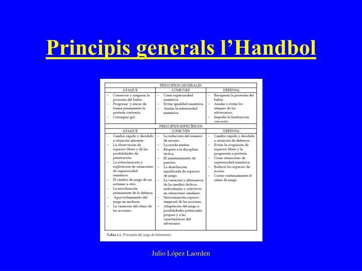 Principis generals l'Handbol