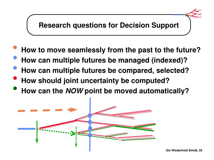 Research questions for Decision Support