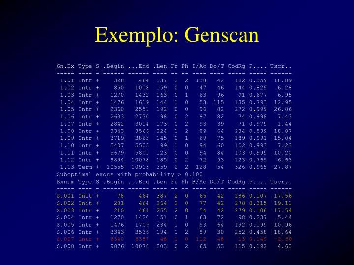 Exemplo: Genscan