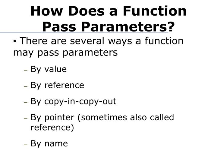 How Does a Function Pass Parameters?