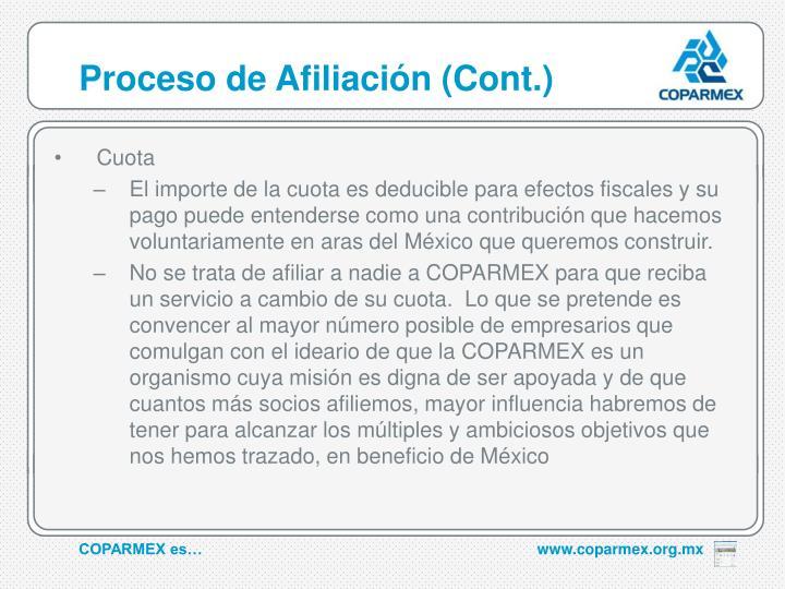 Proceso de Afiliación (Cont.)