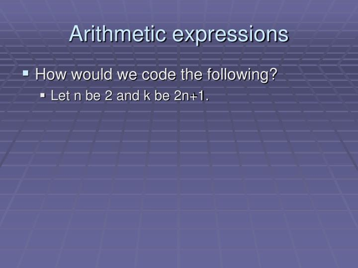 Arithmetic expressions1