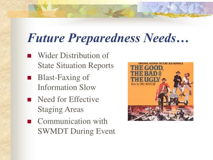 Future Preparedness Needs…