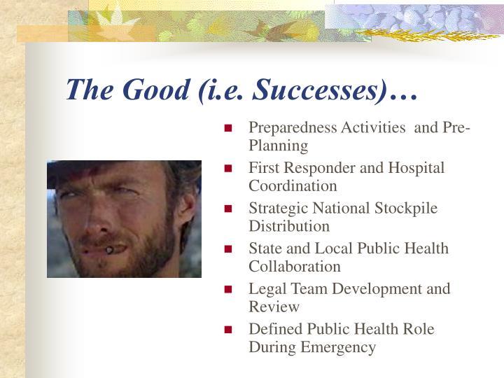 The Good (i.e. Successes)…